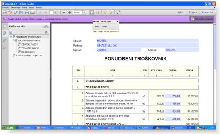 Unos cijena u PDF Readeru