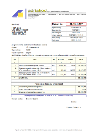 Račun s prijenosom porezne obveze